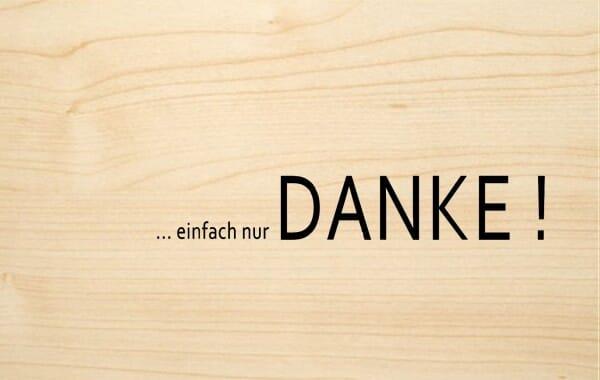 Holzgrusskarte - Danke - einfach nur DANKE!