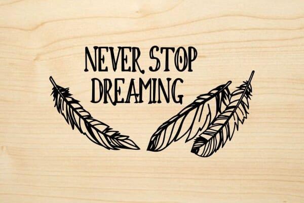 Holzgrusskarte - Sonstige - Never stop dreaming