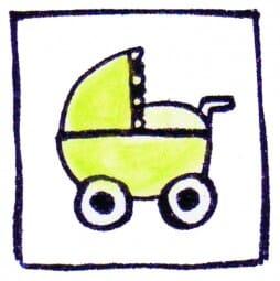 Perma Stempel Holzstempel - Kinderwagen
