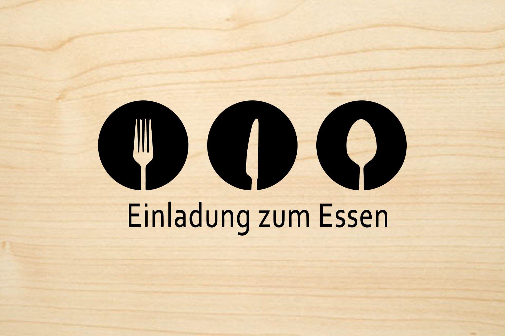 Holzgrusskarte: Einladung zum Essen | stempel-versand.ch