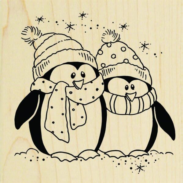 Stampendous Holzstempel - Eingepackte Pinguine