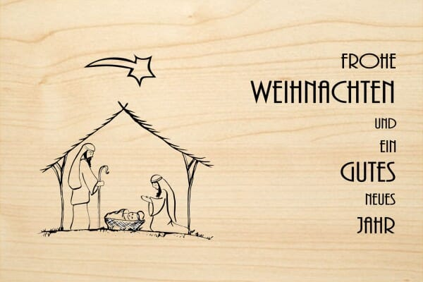Bilder Weihnachten Krippe.Holzgrusskarte Weihnachten Frohe Weihnachten Und Ein Gutes Neues Jahr Krippe