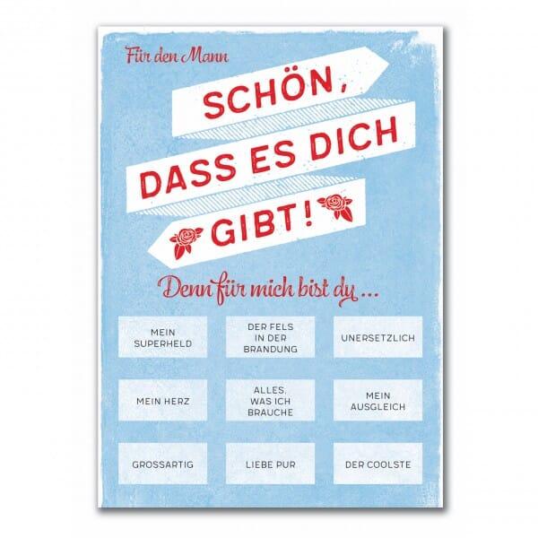 Rubbel-Postkarte - Mann, Schön, dass es dich Gibt !