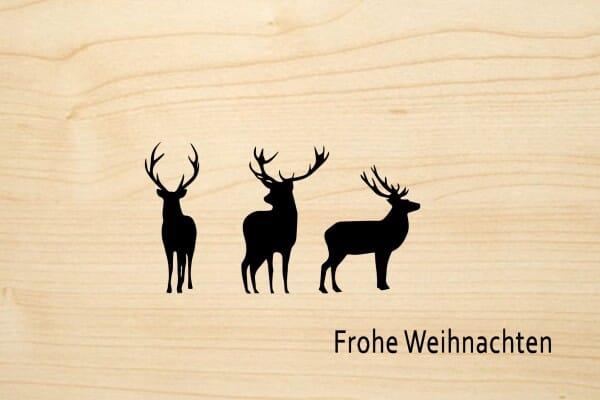 Holzgrusskarte - Weihnachten - Frohe Weihnachten. Mit drei Rentieren.