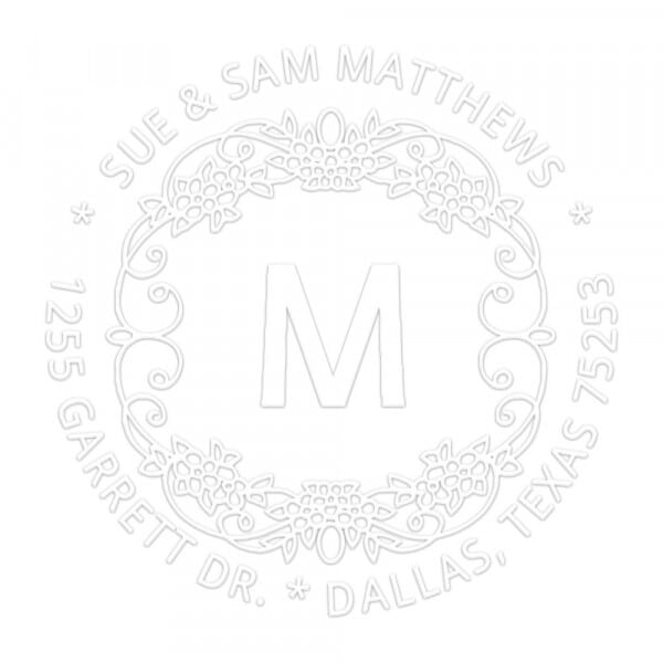 Monogramm-Prägezange rund - Motiv mit Blumen