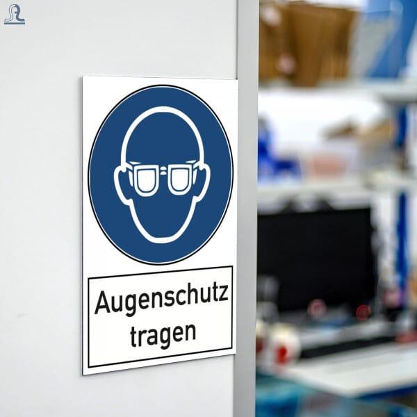 Warnschild - Augenschutz tragen (200x300 mm)