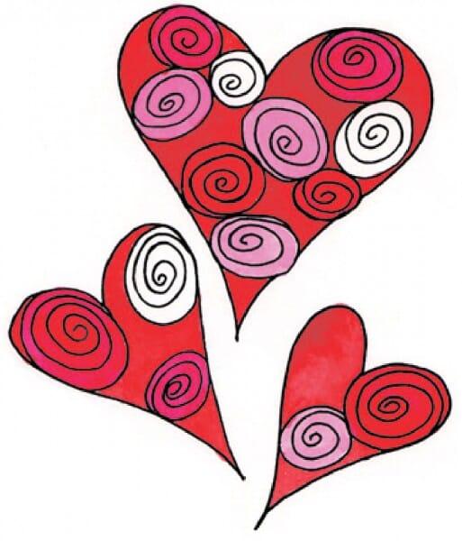 Penny Black Holzstempel - Herzen mit Muster