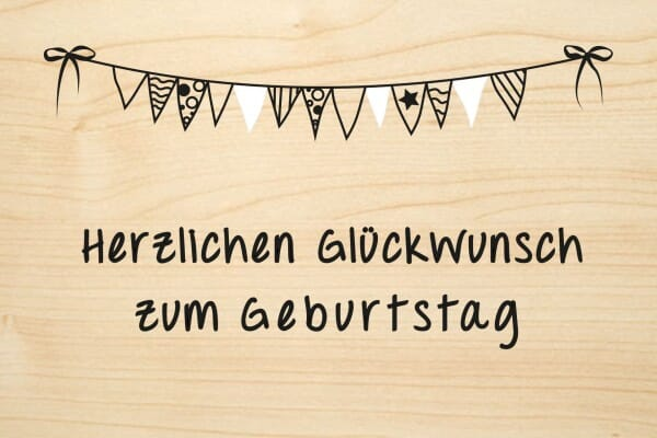 Holzgrusskarte - Geburtstag - Herzlichen Glückwunsch zum Geburtstag mit Wimpeln