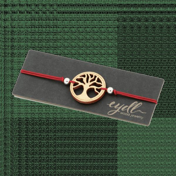 Bracelet - ARBRE DE VIE - bois d'érable / vin rouge / réglable