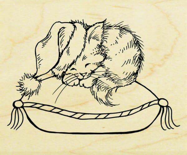 Stampendous Holzstempel - Gemütliches Kätzchen