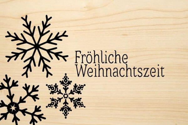 Holzgrusskarte - Weihnachten - Fröhliche Weihnachtszeit