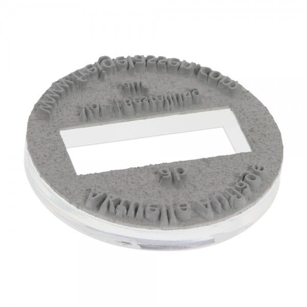 Textplatte für Trodat Printy 46145 - Dm. 4 mm - 3 + 3 Zeilen inkl. Ersatzkissen