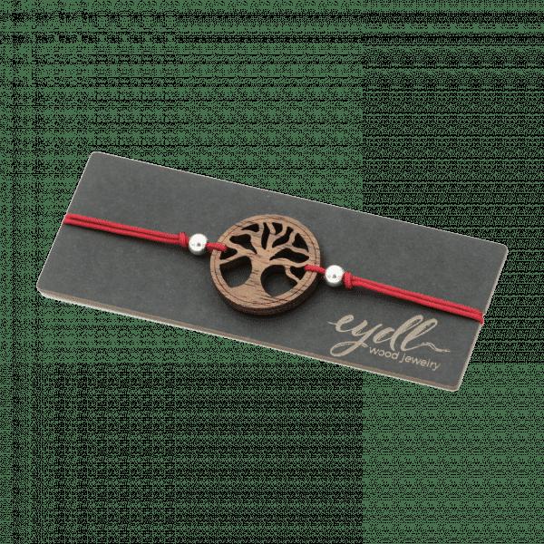 Bracelet - ARBRE DE VIE - noyer / rouge vin / réglable