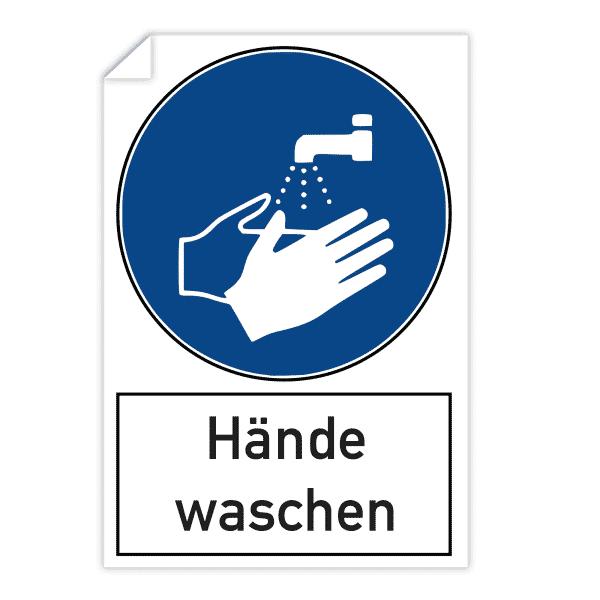 3 Stück Aufkleber - Hände waschen (200x300 mm)