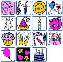 ALADINE Holzstempel - Set Happy Birthday