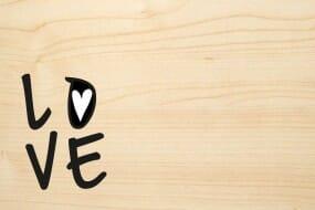 Holzgrusskarte - Liebe - LOVE