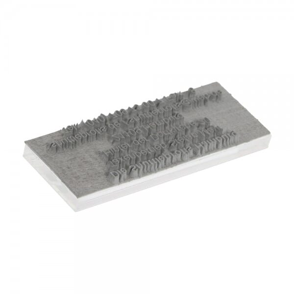 Textplatte für Trodat Printy 4926 - 75 x 38 mm - 8 Zeilen inkl. Ersatzkissen