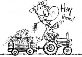 Stampendous Holzstempel - Kuh auf Traktor