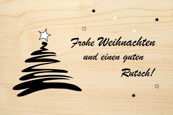 Stern Frohe Weihnachten.Holzgrusskarte Weihnachten Frohe Weihnachten Und Einen Guten Rutsch Tannenbaum Und Stern