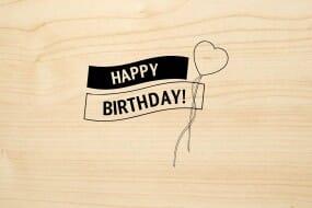 Holzgrusskarte - Geburtstag - Happy Birthday mit Herzballon