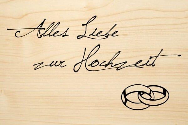 Holzgrusskarte - Hochzeit - Alles Liebe zur Hochzeit (Ringe)