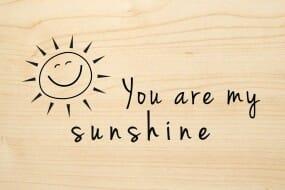 Holzgrusskarte - Liebe - You are my sunshine