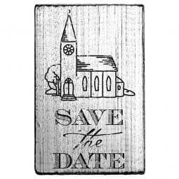 Vintage Stamp Save the date (Kirche)