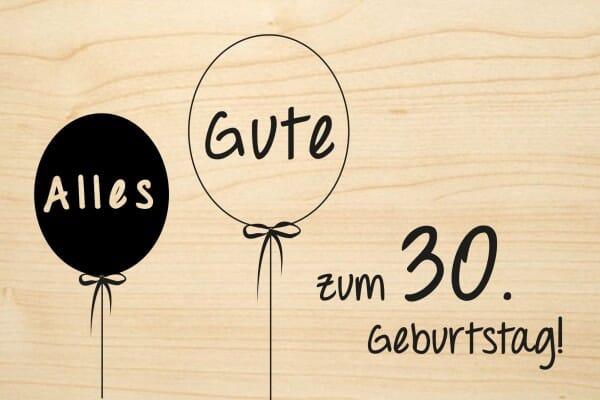 holzgrusskarte geburtstag ballon alles gute zum 30 geburtstag stempel. Black Bedroom Furniture Sets. Home Design Ideas