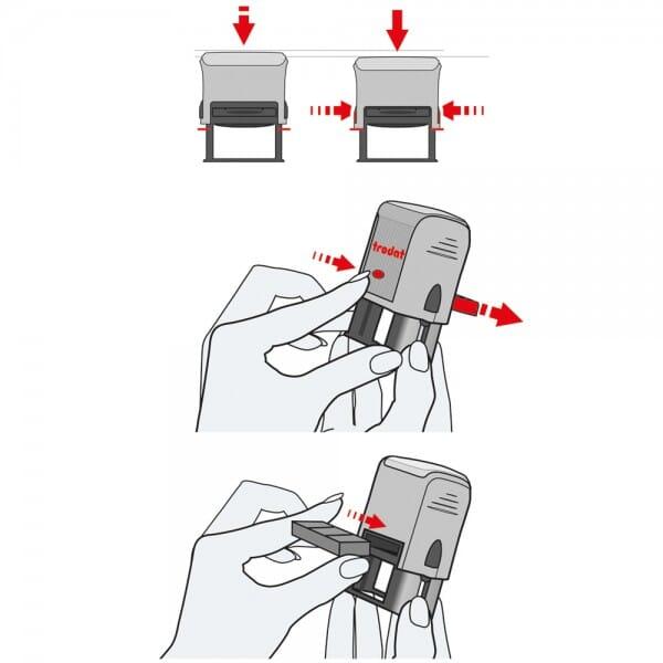 Textplatte für Trodat Printy 46045 - Dm. 45 mm - 8 Zeilen inkl. Ersatzkissen