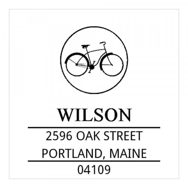 Monogrammstempel quadratisch - Altes Fahrrad