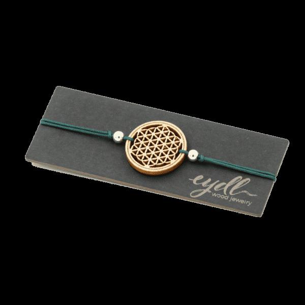 Bracelet - FLEUR DE VIE - bois d'érable / vert / réglable