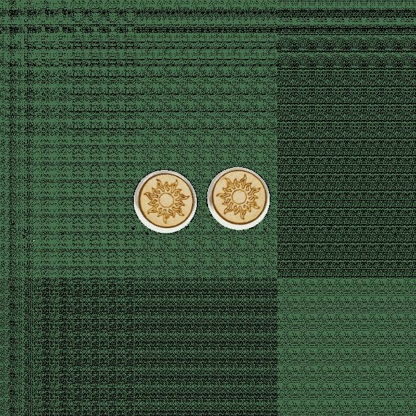 Clous d'oreilles - SOLEIL - érable / 12 mm