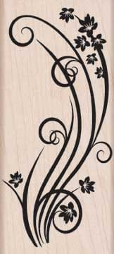 Hero Arts Holzstempel - Swirl with flowers