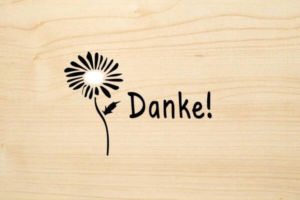 Holzgrusskarte - Danke - mit Blume