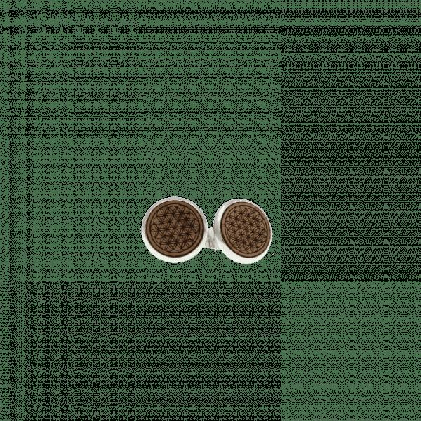 Clous d'oreilles - FLEUR DE VIE - noyer / 12 mm