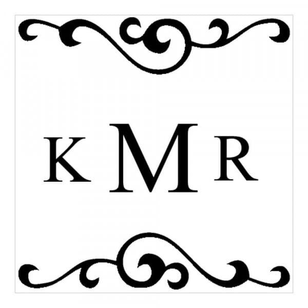 Monogrammstempel quadratisch - Initialen mit Arabesken Design