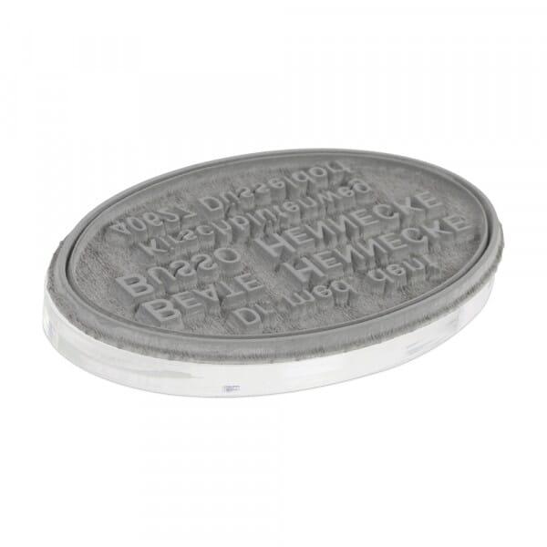 Textplatte für Trodat Professional 52045 oval 45x30 mm - 7 Zeilen inkl. Ersatzkissen
