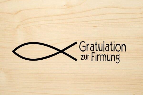 Holzgrusskarte - Firmung - Gratulation zur Firmung mit Fisch