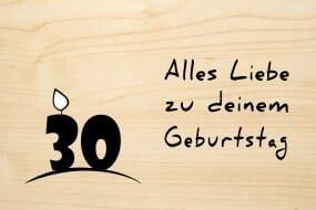 Holzgrusskarte - Geburtstag (Kerze) - Alles Gute zum 30. Geburtstag
